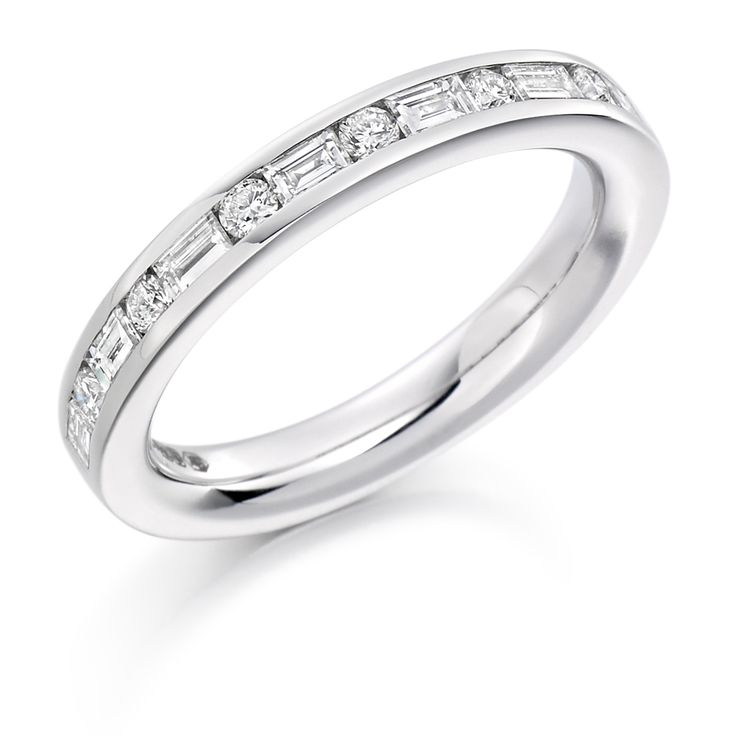 A stunning, unique band featuring 0.55ct of Round Brilliant Cut Diamonds combined with Baguette Cut Diamonds, Channel Set. This piece is available in 9ct – 18ct Gold, Palladium & Platinum Prices shown are for Clarity G+Si1 as standard Available in Colour Grade D to G and Clarity Grade VS1 to Si1. To Specify a Certain Colour and Clarity Grade, Please Contact us. Diamond Weight: 0.55ct Diamond Cut: Round Brilliant & Baguette Cut Diamond Clarity Availability: F/G VS or G+...