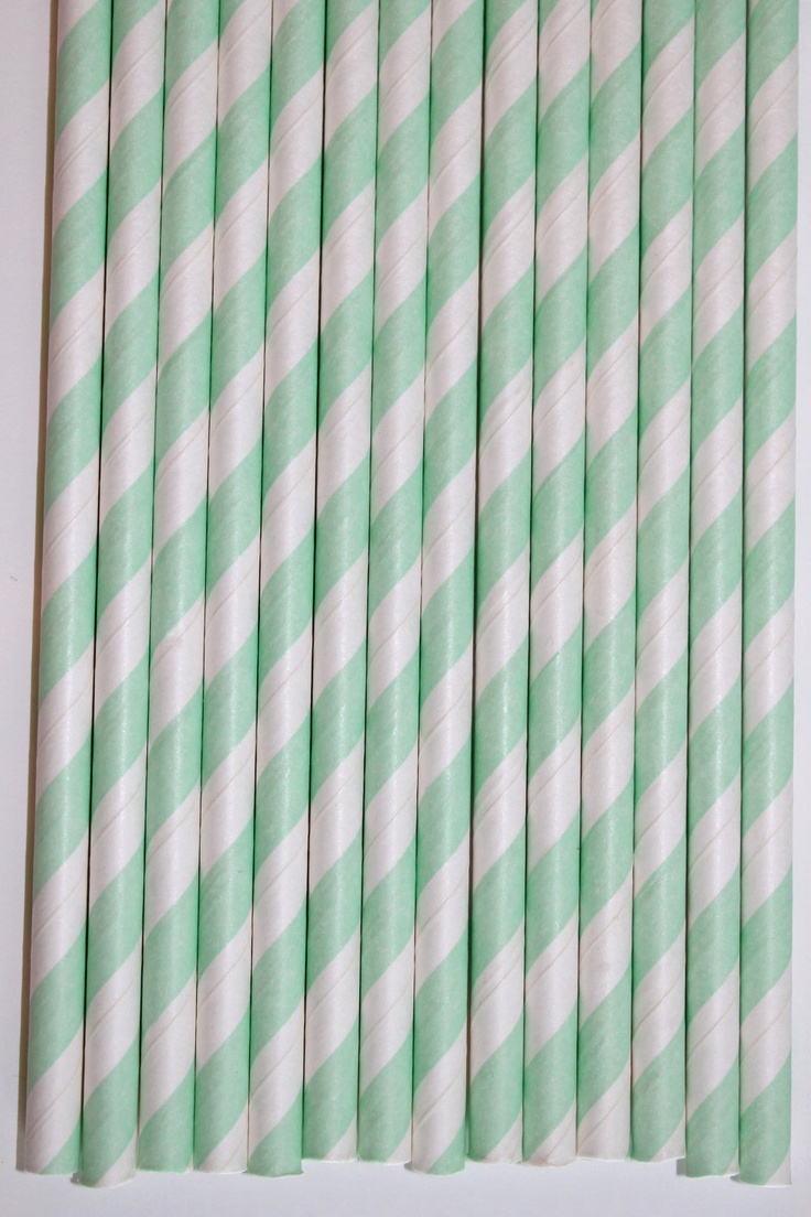 50 Mint Striped Paper straws bridal shower!