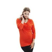 Oda blouse - mandarin red