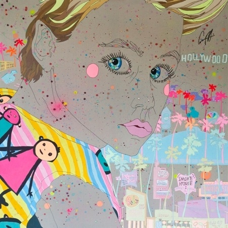 Sarah Beetson    Corey Haim (1971-2010) as Sam Emerson - 2012    Mixed Media and Embroidery on Raw Linen    170 x 170 cm