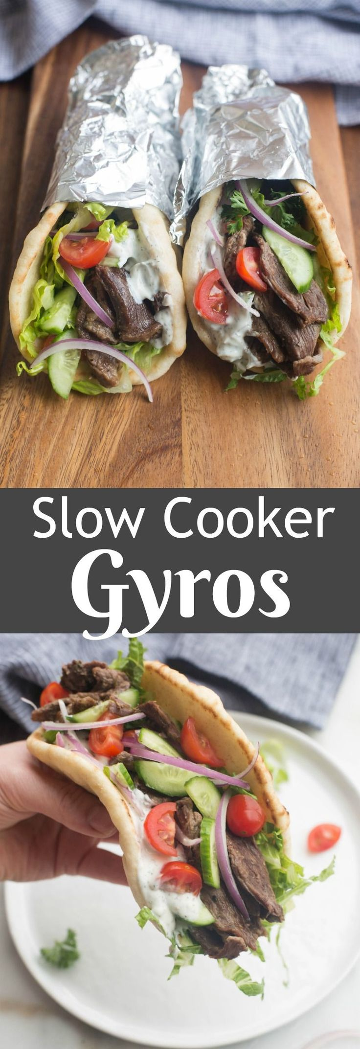 Deliciously flavorful and tender Beef Gyros, made in the slow cooker or instant pot pressure cooker. This tasty dish couldn't be easier to make from home!| Tastes Better From Scratch