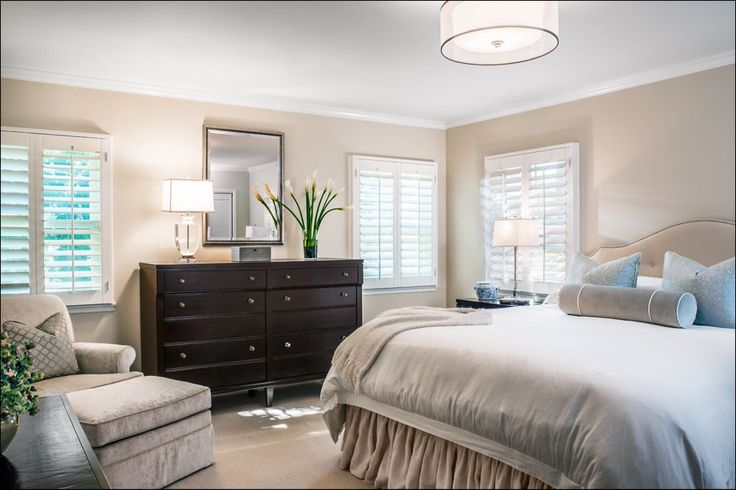 Traditional Master Bedroom with Interior Plantation Shutters, homeBASICS, European Cabinets, Carpet, Master bathroom