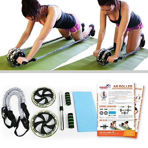 496ca61e599 Furious Fitwear Ab Roller Wheels for Men Women for Perfect Abs Training  Toning Total Fitness Pick Dual Wheel Machine with Resistance Bands Foot  Straps or ...
