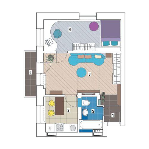 Двухкомнатная квартира общей площадью 41,7<nbsp/>м<sup>2</sup>: Плавный переход