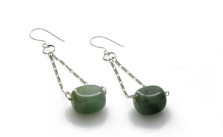 Long Statement Jade and Sterling Silver Earrings by Kalitheo - KJ-020 – Kalitheo Jewellery