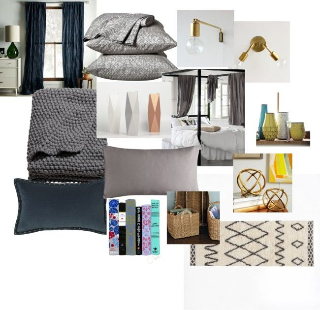 Gray Navy And Brass Bedroom Small Room Pinterest