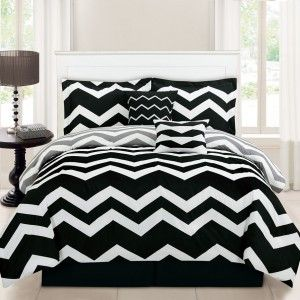 Simple Bedroom with Twin Black White Chevron Comforter Set, Simple Long White Curtains, and Rectangular White Wooden Headboard