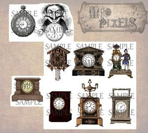 A fun and whimsical compilation of clocks, this collage sheet has a gray pocket piece, a cuckoo in black with copper color, wooden illustration and more. #DigitalCollageSheet #Clocks #DigitalArtImages #VintageTimePieces