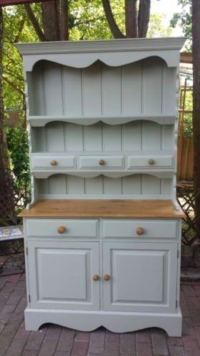 Shabby Chic Solid Pine Welsh Dresser Painted In Farrow Ball Ebay Shabbychicdressersdecor