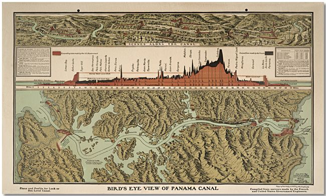 This map was created circa 1906 charts the scale, effort required, and physical path of the creation of the Panama Canal. Started by the French in 1880 this great feat of engineering was completed by the United States in 1914. This graphic provides a detailed comparison of the amount of excavation for each country as well as a map of the complete canal.