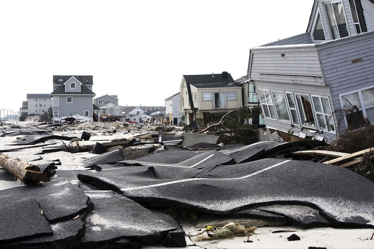 Streets damaged during Hurricane Sandy, in Ortley Beach, New Jersey, on November 10, 2012