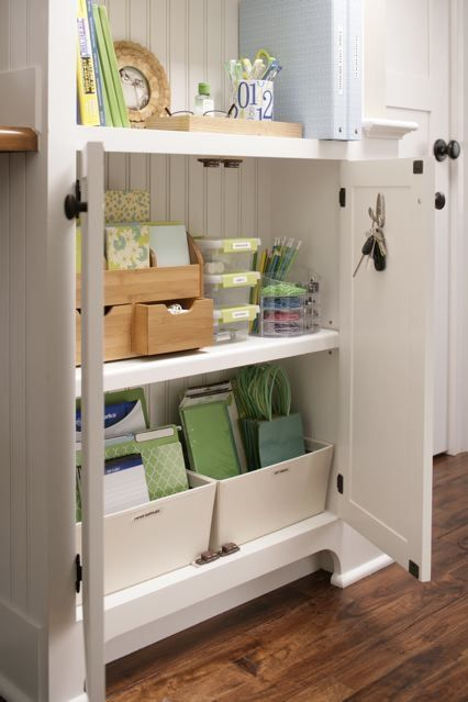 Organized gift station idea: Decor Ideas, Gifts Bags, Organizations Cabinets, Small Spaces, Gifts Wraps Stations, Cabinets Organizations, Kitchens Cabinets, Crafts, Offices Supplies