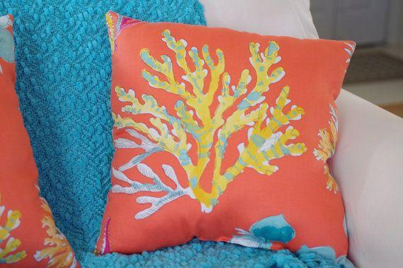 Beach Decor Orange Watercolor Coral and Sea by ByTheSeashoreDecor