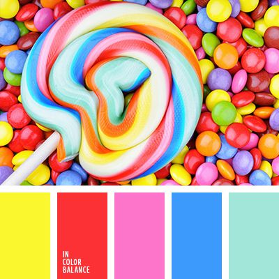 Looking for colou inspiration for my next possible painting and I stumbled on this vibrant candy colour scheme.  I love the intensity of the colours and the swirling effect in the loli pop. | colour palette #1335 - in colour balance