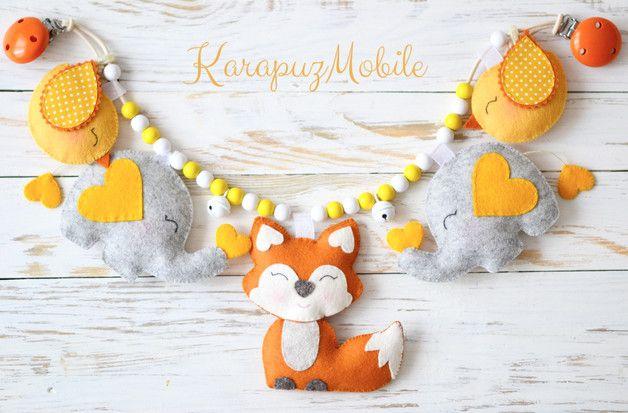 """Kinderwagenketten - Kinderwagenkette """"Fuchs mit Elefanten"""" - ein Designerstück von KarapuzBoutique bei DaWanda"""