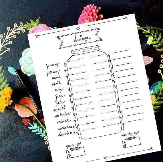 Savings Bullet Planner Bujo Savings Planner Blank Bujo Page