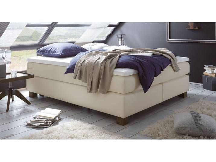 Boxspring Doppelbett Ohne Kopfteil 160 200 Cm Beige Goma Boxspring In 2020 Bed Without Headboard Beige Bed Kids Bed Canopy