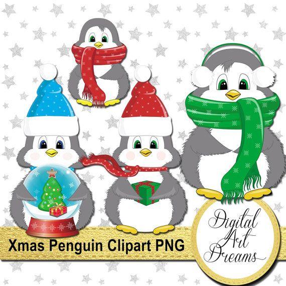 Penguin Clipart Christmas Clip Art By DigitalArtDreams