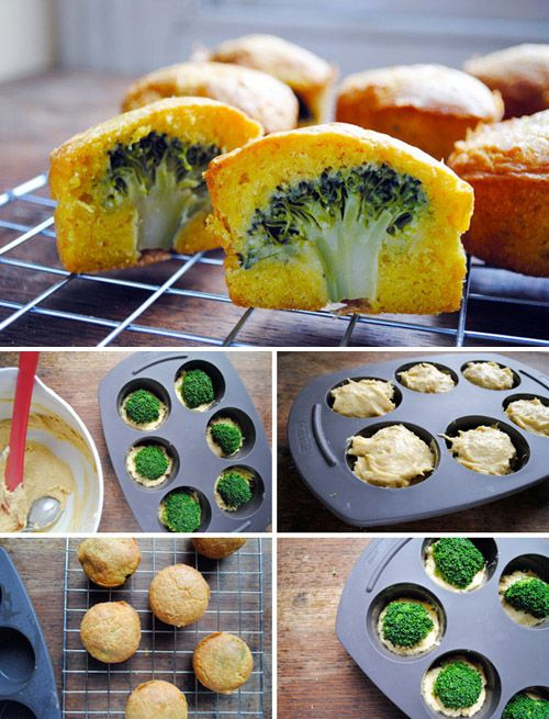 This is such a good idea! I couldn't locate the muffin recipe that they used, but I am thinking of using a cornbread mix and adding a sprinkle of cheddar cheese to the batter. www.naiasknitsbythesea.com
