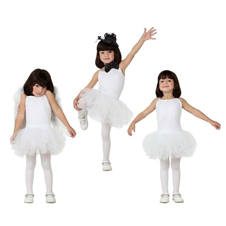 Acabamos de incorporar a nuestro catálogo este original disfraz de Bailarina con falda de tul en color Blanco. Un disfraz multiuso, servirá para disfrazar a las niñas de bailarinas de ballet, o como traje de danza clásica. Si se completa con alguno de nuestros accesorios y complementos lo convertiremos en un ángel gracias a unas alas de plumas o en un hada gracias a unas alas de colores.