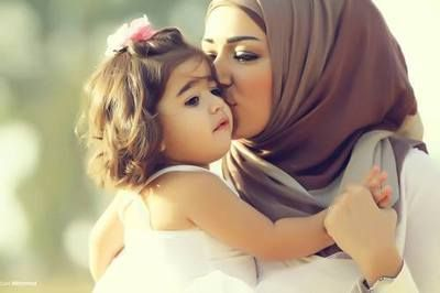 Beautiful mother and daughter photo