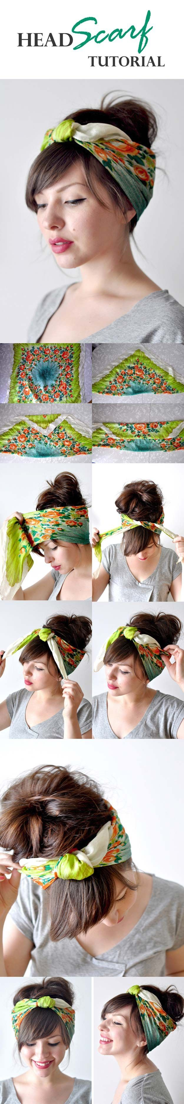 Festival Hair Tutorials - HEAD SCARF TUTORIAL - Short Quick and Easy Tutorial Guides and How Tos for Braids, Curly Hair, Long Hair, Medium Hair, and that Perfect Updo - Great Ideas for That Summer Music Edm Show, Whether It's A New Hair Color or Some Awes