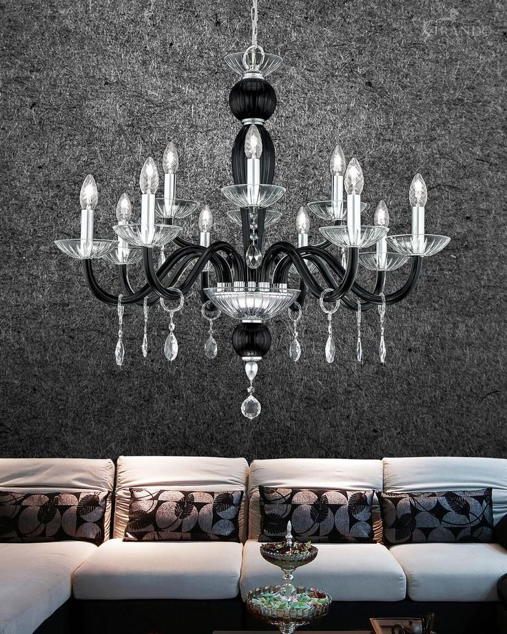 112/8+4 CH chrome black crystal chandelier with Swarovski Elements. - GrandoLuce