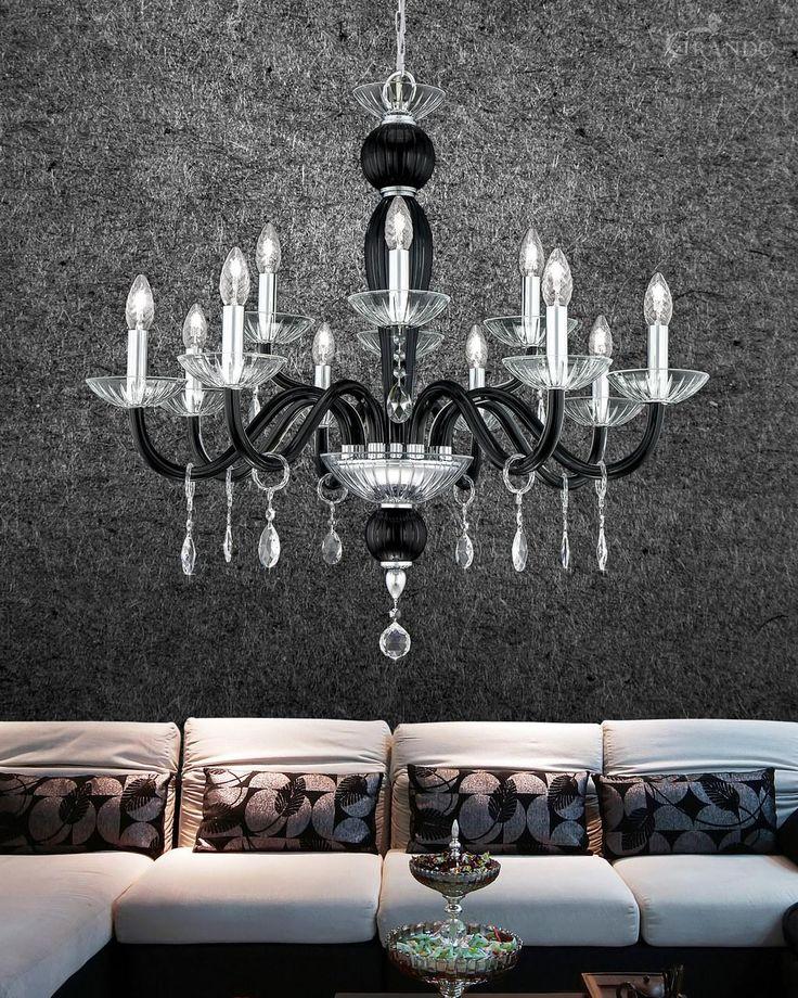 112/8+4 CH chrome black crystal chandelier with Swarovski Elements. - GrandoLuce