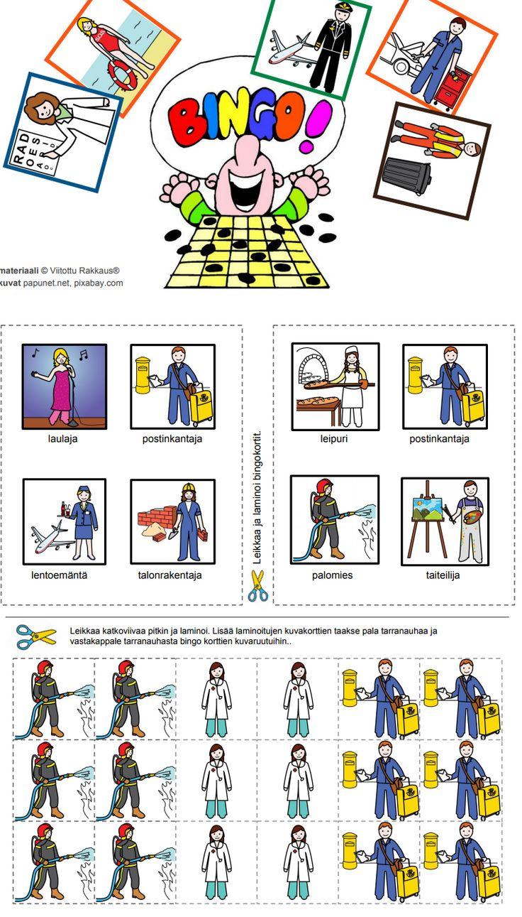 """Harjoitellaan kysymystä """"KUKA"""".  Tulosta, leikkaa ja laminoi Bingo-taulut. Bingossa voittaa se, joka saa taulun ensimmäisenä täyteen eli neljä oikein."""