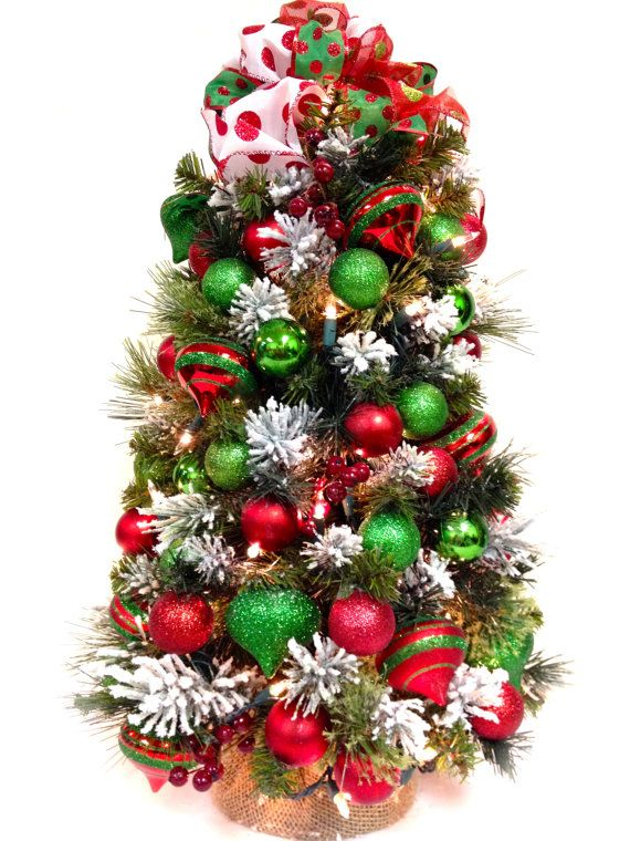 """Traditional Tabletop Christmas 24"""" Tree w/ White Lights Red Green & White by SandyNewhartDesigns"""