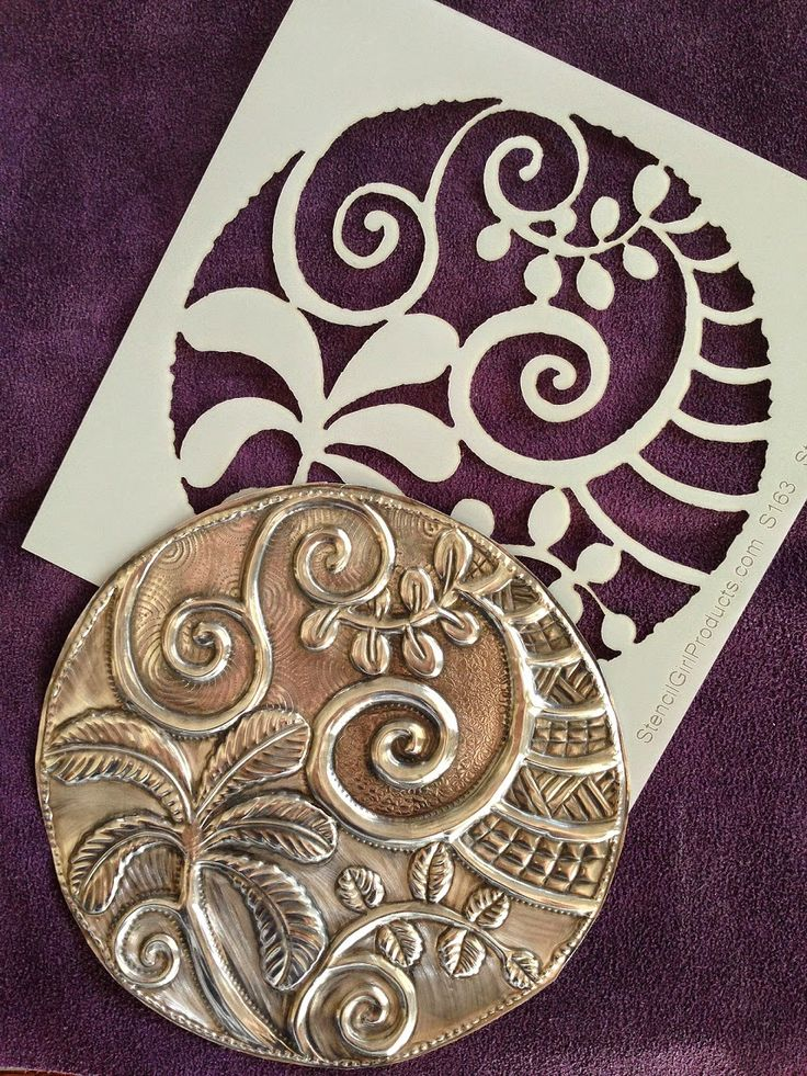 Pewter embossing with StencilGirl stencils by Magdalena Muldoon from MercArt.