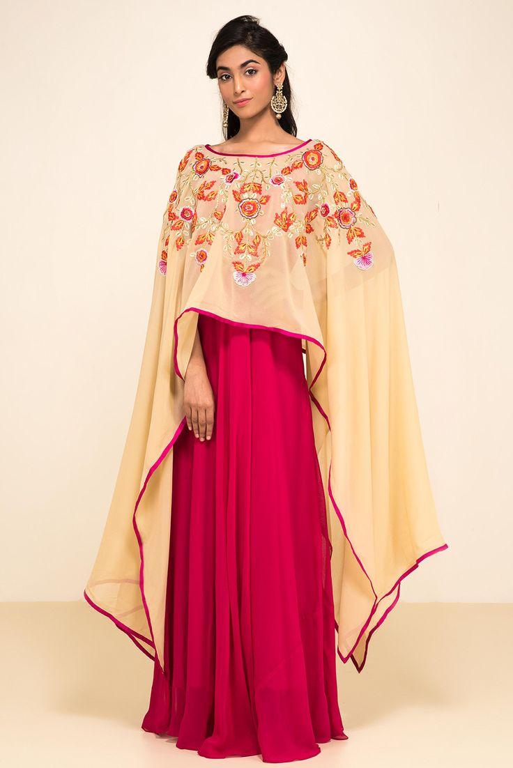 ZAYAH Pink And Beige Cape Style Gown #flyrobe #wedding #weddingoutfit #flyrobeweddings #receptionoutfits #designerwear #designergown #receptiongown