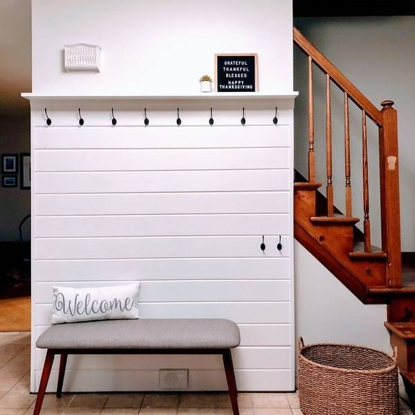 Ryobi Nation Shiplap Entry Wall Shiplap Wall Diy Wall Shelf With Hooks Ship Lap Walls