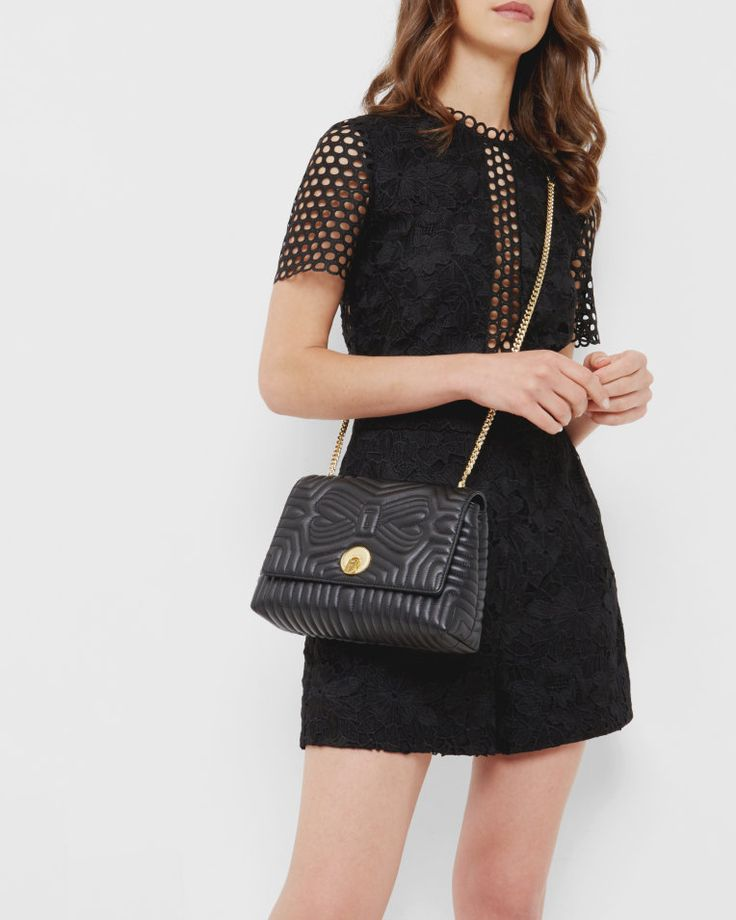Quilted circle lock leather cross body bag - Black | Bags | Ted Baker