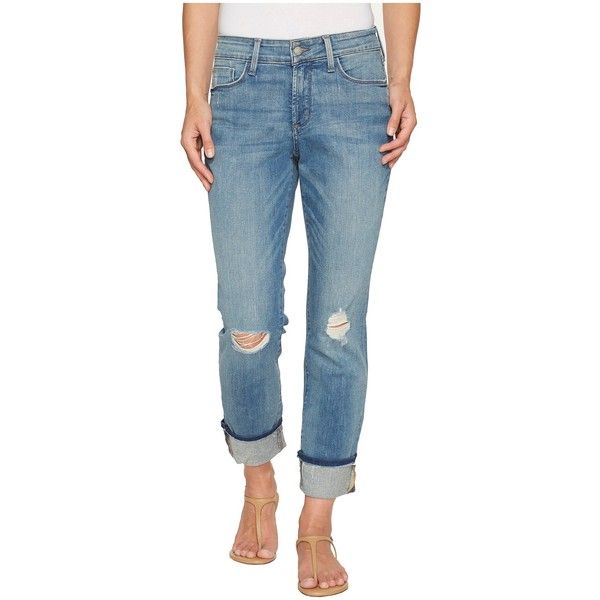 NYDJ Marnie Boyfriend in Paloma Rips (Paloma Rips) Women's Jeans ($134) ❤ liked on Polyvore featuring jeans, nydj jeans, torn boyfriend jeans, distressed jeans, blue boyfriend jeans and straight leg jeans