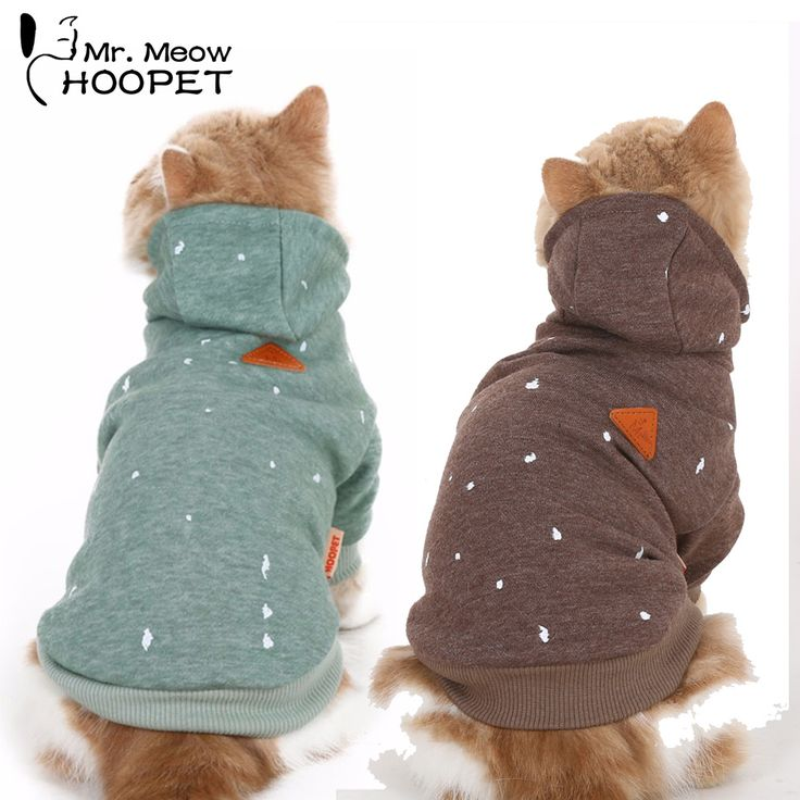 Cat Clothes Ink Printing Hoodies Hooded Sweater Fall And Winter Clothes Casual Warm Green&Brown Fashion Pet jacket //Price: $10.86      #shopping