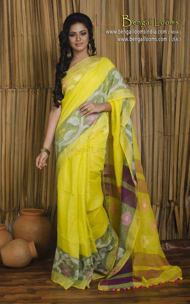 Pure Handloom High Thread Count Linen Jamdani Saree in Greenish Yellow 11