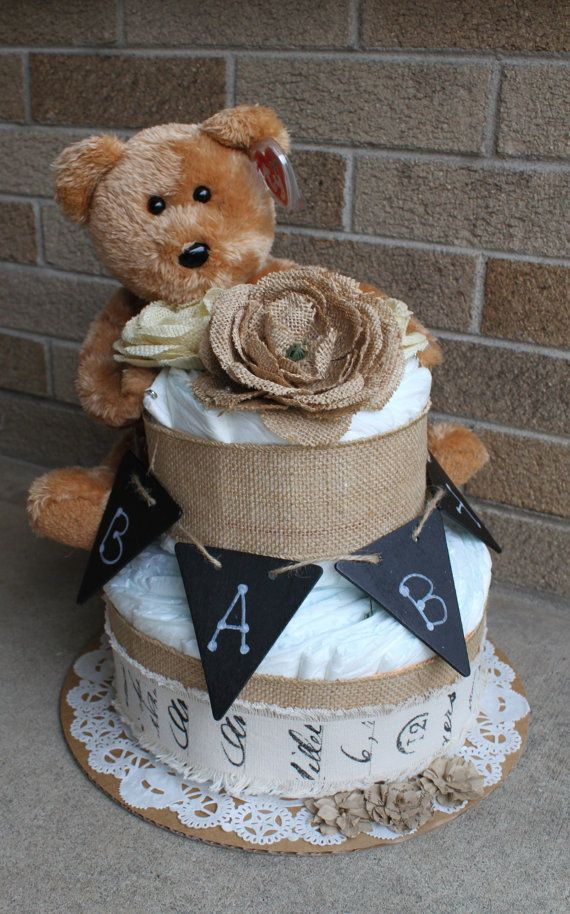 Burlap diaper cake by MckayCakesnCrafts on Etsy