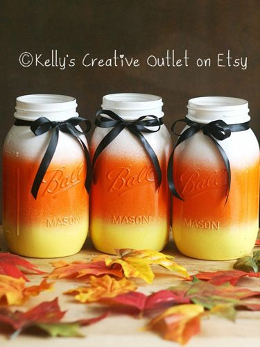 If scary Halloween decor isn't your thing, opt for a more kid-friendly approach with this candy corn-colored trio of Mason jars.