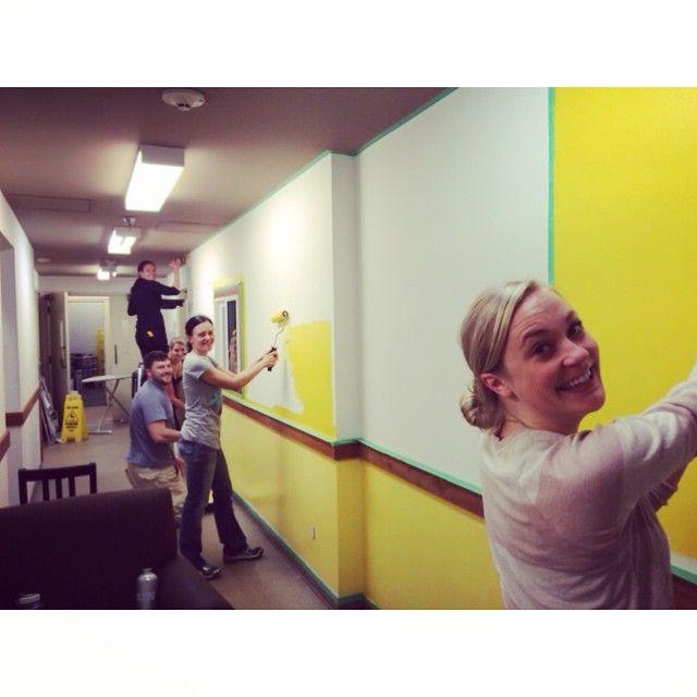 #TeamNita bringing some sunshine to our staff area!  #diy #painting #behindthescenes #yellow #goteam #hellosunshine #lifeatthelodge #thefacesofnitalakelodge #funtimes #loveourteam #bright #whistlerlife #teamspirit #smiles #teamwork #nitalakelodge