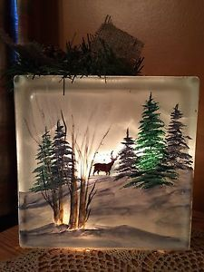 "8"" Hand Painted Lighted Glass Block with Trees and A Deer in The Distance 
