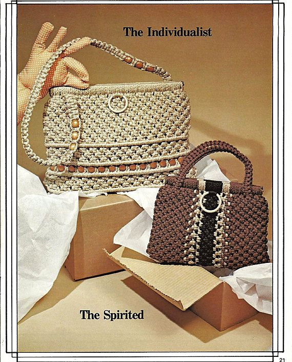 Macrame Purse News Sixteen brand-new Designer Purses in Macrame Pattern Book…