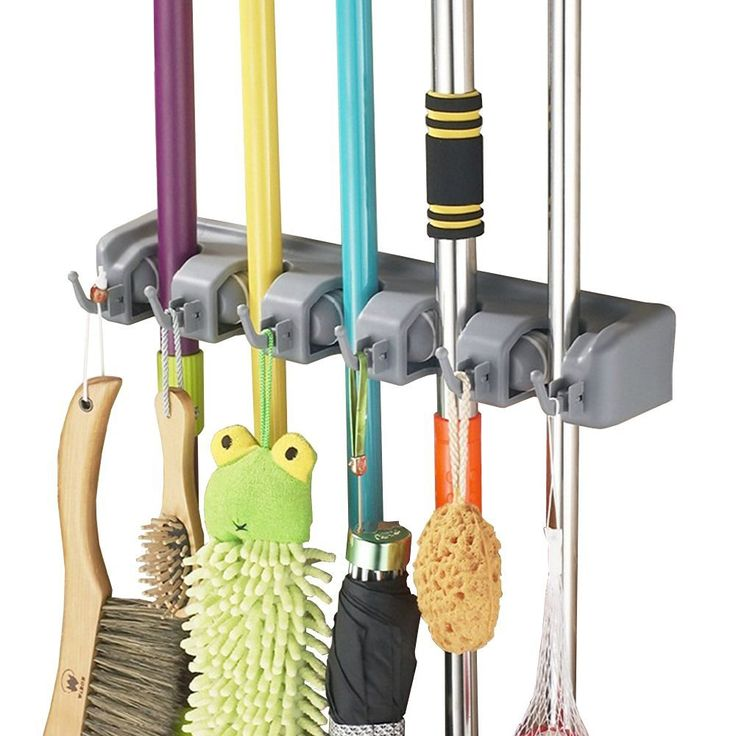 Mop Rack EZPart Mop and Broom wall mounted rack with Ball Slots and Hooks, superior Quality Tool Rack (5 Slots 6 Hooks)