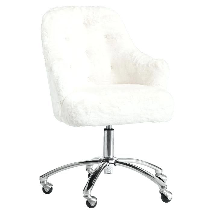 tufted desk chair no wheels dining room covers target teen chairs computer for teens polar bear faux fur white wood