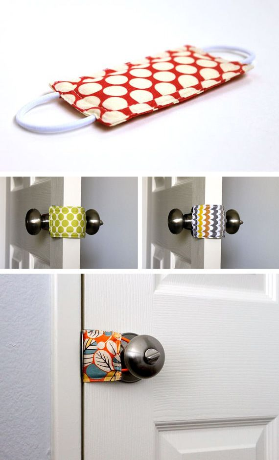 I need this for Liam! Door knob/latch silencer. Great baby shower gift. (=o !!!!!!) Also a good way to make sure little one doesn't lock himself in the room!