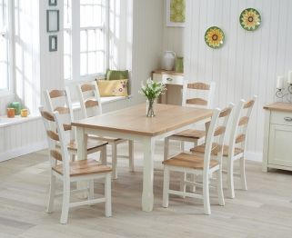 Mark Harris Sandringham Oak And Cream 150cm Dining Table With 6 Chairs