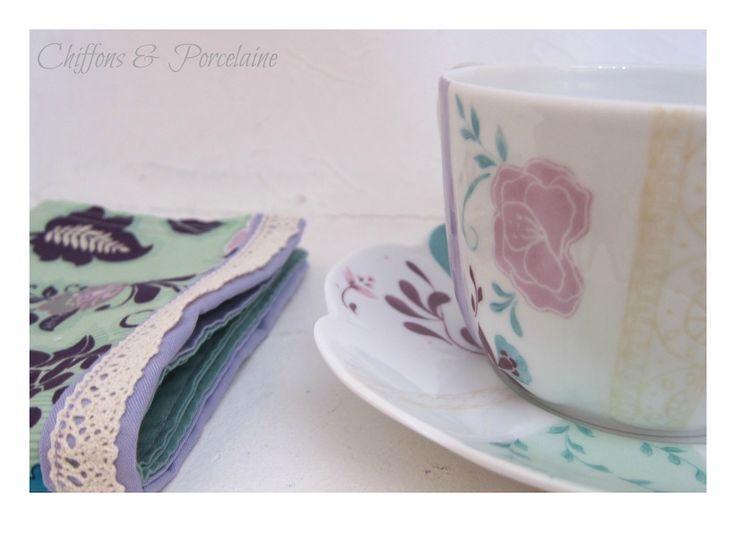 C'est l'heure du thé  Chiffons et porcelaine … Romantisme et finesse pour la collection amande et lilas