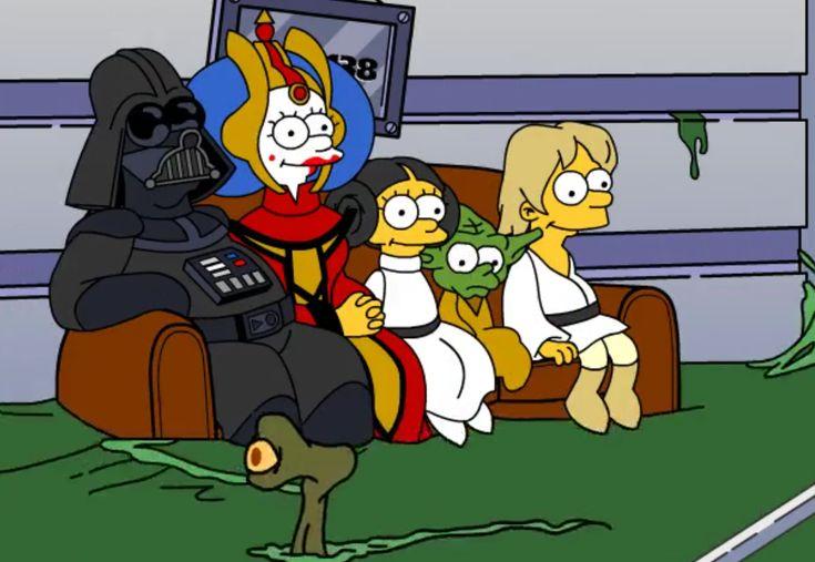 La legendaria broma del sillón de Los Simpson es mezclada como parodia con el universo de George Lucas.