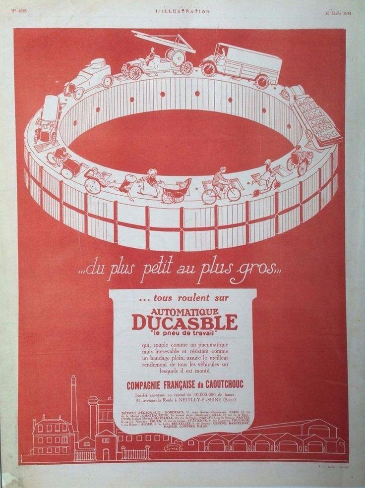 DUCASBLE TYRES AD RETRO ART DECO ART STYLE 1920s original vintage advert