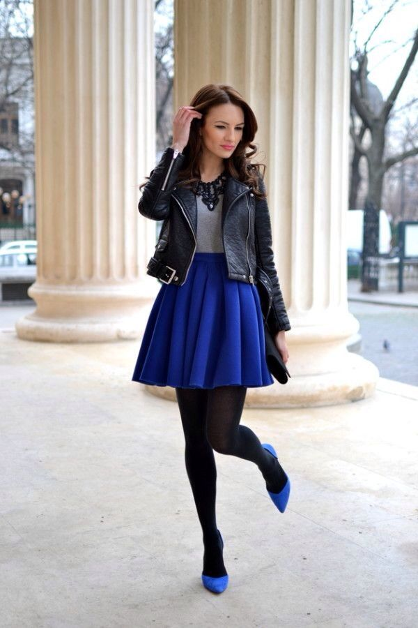 Black leather jacket. Grey sweater. royal blue pencil skirt royal blue pumps shoes. Black tights.